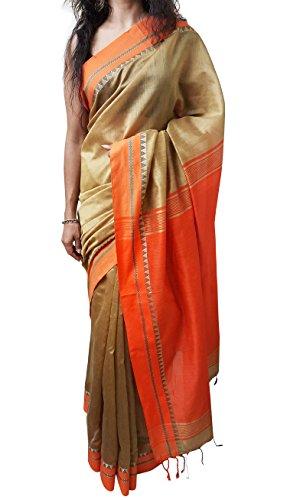 Mehrunnisa Handloom High Quality BAHA SAREES From Kolkata (Golden & Orange)