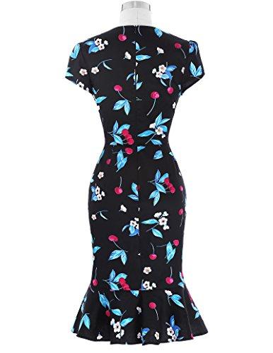 Belle Poque Damen 50er Jahre Kleid Vintage Retro Rockabilly Kleid Mermaid Bleistift-Kleid BP100-2