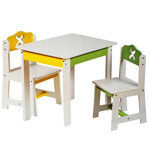 3 tlg. Set: Sitzgruppe für Kinder - aus sehr stabilen Holz - weiß / grün / gelb - Tisch + 2 Stühle / Kindermöbel für Jungen & Mädchen - Kindertisch - Kinderstuhl - Kinderzimmer für circa 1 - 3 Jahre - Kindersitzgruppe - Tischgruppe / Stühlen