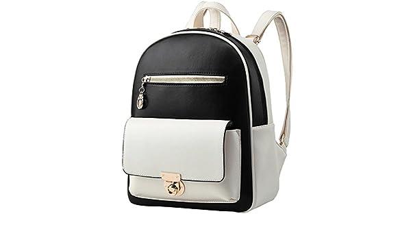 YiJee Damen Klassisch Kontrastfarbe Rucksäcke PU Leder Taschen