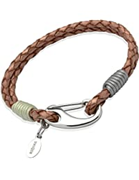 Unique & Co. Ladies 19cm Copper Leather Bracelet  with Steel Shrimp Clasp and Coloured Shell/Grey Binding