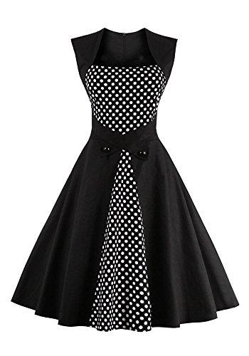 VINDOOXI frauen vintage - kleider, schwarze polka - dot - 50er jahre retro - rockabilly - kostüm (L, schwarz) (Knielangen Slim Rock)