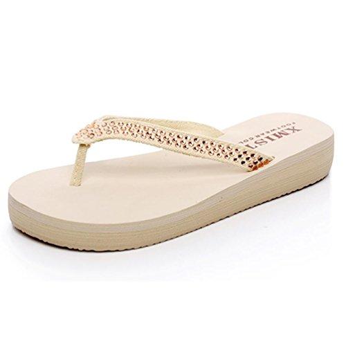 SHANGXIAN Diamond Beach solide Comfort Thong Sandal Beige