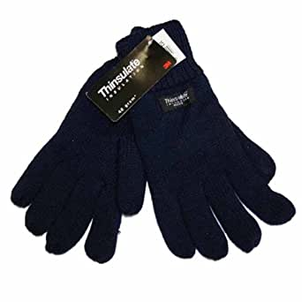 Mens Knitted Thermal Thinsulate Lined Warm Winter High Cuff Glove Navy