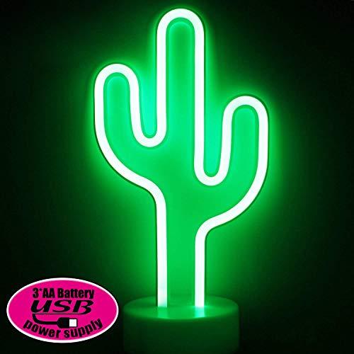 XIYUNTE Cactus Light Neon Signs - Neon Signs Lampen Kaktus-Neonlichter-Dekor, Batterie- und USB-Betrieb Nachtlichter mit Sockel,Schreibtischlampe, grüne Neonzeichen fur Party, Weihnachten