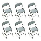 MilaniHome Set di 6 Sedie Pieghevoli Slim Grigio Chiaro Opache Struttura Grigia per Interno Sala da Pranzo Salotto Cucina Ufficio