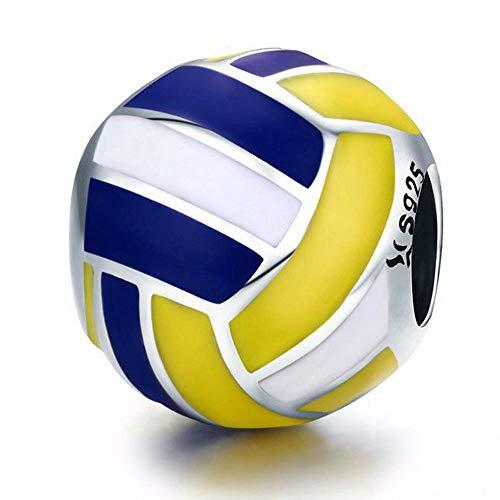 Reiko Volleyball Anhänger,925 Sterling Silber Charms,Charm für Armbänder oder Halsketten