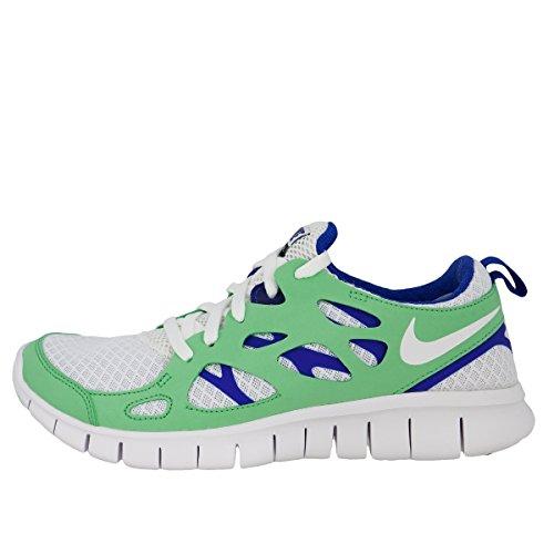 Nike Laufschuhe Free Run 2 (GS) Unisex white-poison green-hyper blue-black (443742-134), 36, weiss