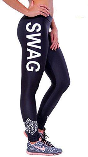 Bigood Femme Pantalon Leggings Yoga Collant Imprimé Lettre Elastique Slimmer de Sport Blanc