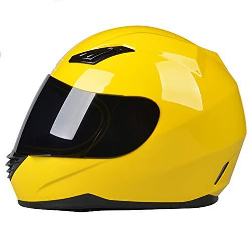XINGWEI HELMET Motorradhelme, Motorradhelm Full Face Helmvisier, Racing Motocross Helm,Yellow