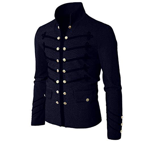 Chaqueta gótica Escudo de los Hombres botón Bordado Abrigo Uniforme Tallas Grandes Traje de Fiesta Prendas de Vestir Exteriores Color sólido Gusspower