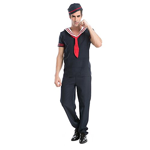 KINDOYO Männer Halloween Party Cosplay Kostüm Französisch Sailor Kostüm Marine Uniform (T-Shirt & Hose & (Mann Sailor Kostüme)
