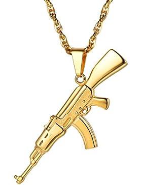 PROSTEEL Herren Halskette AK47 Armee Gewehr Anhänger Edelstahl/18k vergoldet Herren Jungen Rock Stil Modeschmuck...