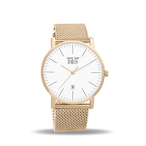 Davis 1992MB - Mens Womens Design Watch Classic Rose Gold Ultra Thin Case White Dial Date Mesh Milanese Strap