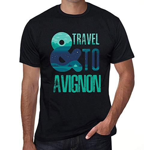Herren Tee Männer Vintage T Shirt and Travel to Avignon Noir Schwarz -
