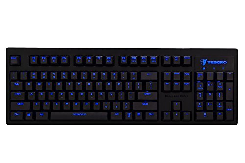 Tesoro exali Bur Mechanical Gaming Keyboard, Brown Switches, Blue LED, and 104 Keys Germany Layout