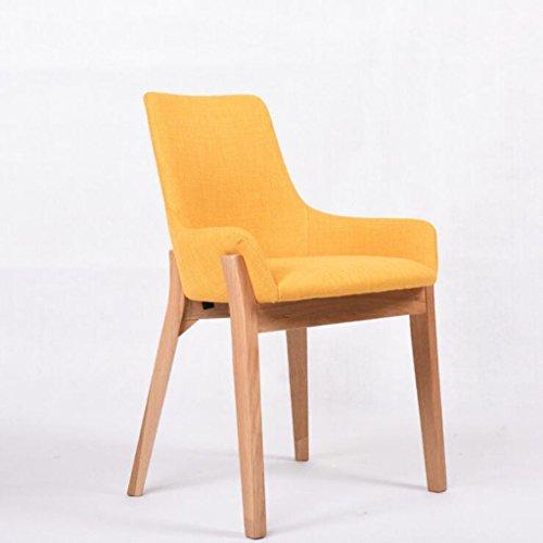 Tabouret en bois Salle à manger chaise solide bois simple moderne café tables et chaises, chaise de restaurant dossier de la maison (Couleur : Jaune)