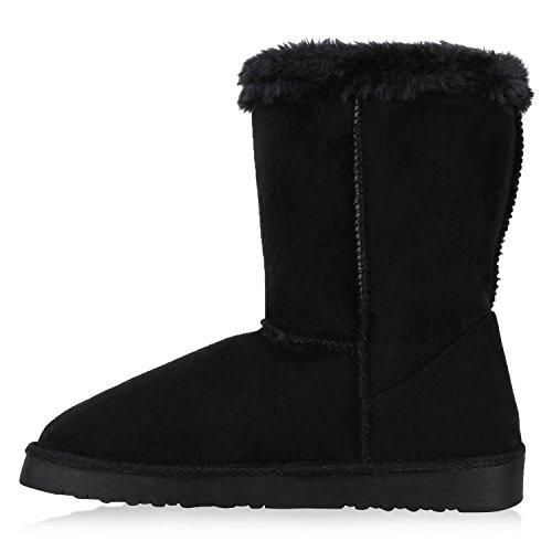 Warm Gefütterte Damen Stiefel Boots Schlupfstiefel Kunstfell Schuhe Schwarz Knopf Kristall