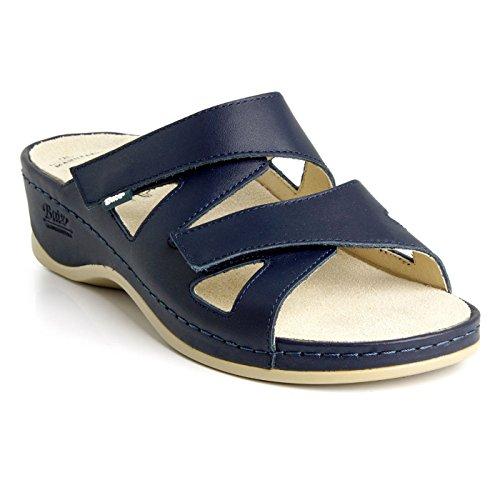 Batz EVELIN Sandalias Zuecos Zapatos de Cuero para Mujer, Azul, EU 37
