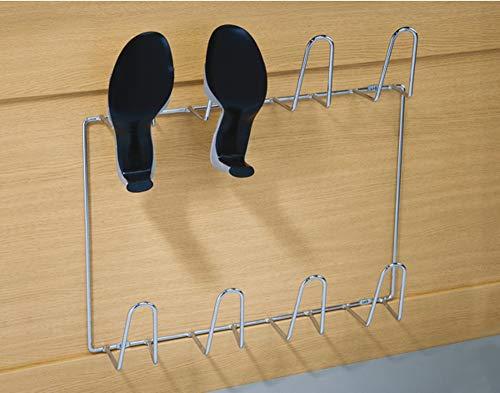 Gedotec Wand-Schuhablage Schuhhalter zum Schrauben an die Wand | PREMIUM Schuhregal für 4 Paar Schuhe oder Stiefel | Stahl verchromt glänzend | Breite: 500 mm | 1 Stück - Design Schuh-Aufhänger