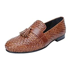 Bareskin tan Color Full Weaved Genuine Leather Loafers with Tassel for Men Size-9