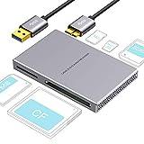 SD kartenleser 5 in 1 USB 3.0, Aluminiumlegierung mit USB Kabel für SD, Micro SD, SDXC, SDHC, Micro SDHC, Micro SDXC, kompatibel mit Windows 10, 8.1, 8, 7, Vista, XP, Mac OS