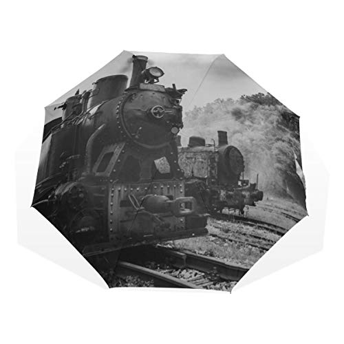 Ombrello da viaggio Vintage Nero Steam Powered Train ferroviario Anti Uv Compact 3 Fold Art Leggero Ombrello pieghevole (all'esterno di stampa) Antivento Rain Protection Sun Ombrelli per le donne Rag