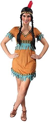 Indianer Kostüm braun-türkis für Damen   Größe 36/38   2-teiliges Western Kostüm   Indianerin Faschingskostüm für Frauen   Squaw Kostüm für Karneval