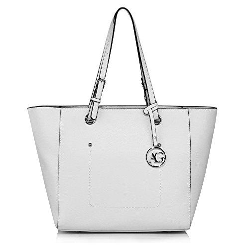 Damen Ebene Faux Leder Texturiert Tote Tasche - Oben Griff Handtasche Mit Weich Und Gemütlich Strap - Silber Metall Arbeit Um Das Tasche Weiß