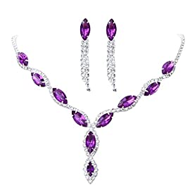 YAZILIND Women Wedding Jewelry bright Crystal Rhinestone Droplets Necklace Earrings Party Set