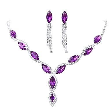 YAZILIND Women Wedding Jewelry bright Crystal Rhinestone Droplets Necklace Earrings Party Set
