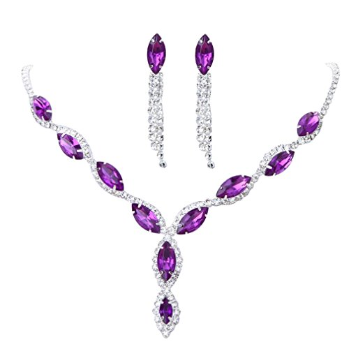 YAZILIND Women Wedding Jewelry Deep purple Crystal Rhinestone Droplets Necklace Earrings Party Set