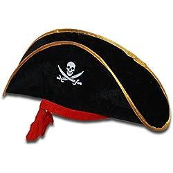 Sombrero de pirata, color negro y rojo.