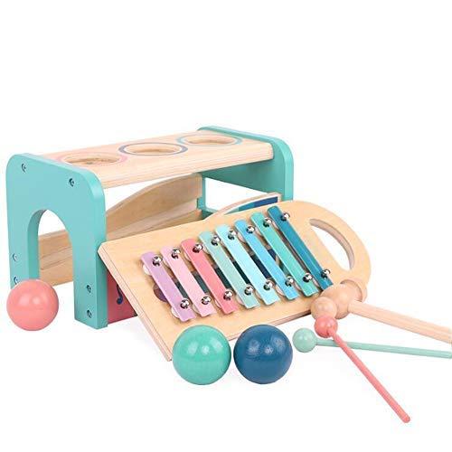 HB.YE 2 in 1 Holz Xylophon Baby Musik Holzspielzeug Kinder Hammerspiel Musikspielzeug Lernspiel Klopf-Hämmerspielzeug (Blau)