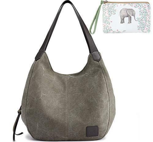 WORLDLYDA Damen-Handtasche aus Segeltuch mit mehreren Fächern -