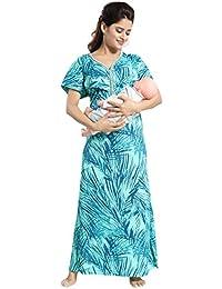 TUCUTE Women's Beautiful Leafs Print Feeding/Maternity / Nursing Nighty/Nightwear.