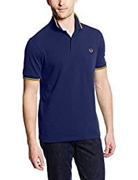 Fred Perry Slim Fit Twin Tipped Polo Shirt NAV/YELL