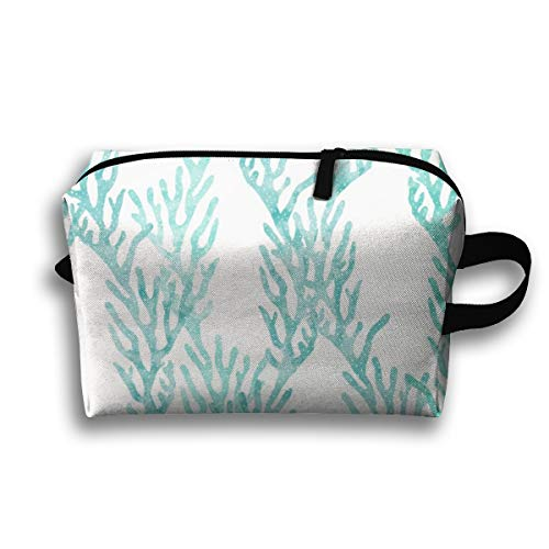 Makeup Cosmetic Bag Coral Teal - Mermaid Coordinate_48139 Medicine Bag Zip Travel Portable Storage Pouch for Adult 10