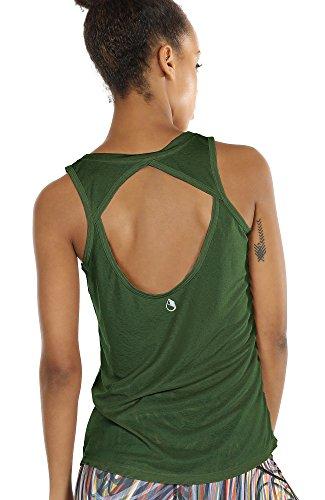 icyzone Damen Yoga Sport Tank Top - Rückenfrei Fitness Shirt Oberteil ärmellos Training Tops (S, Green
