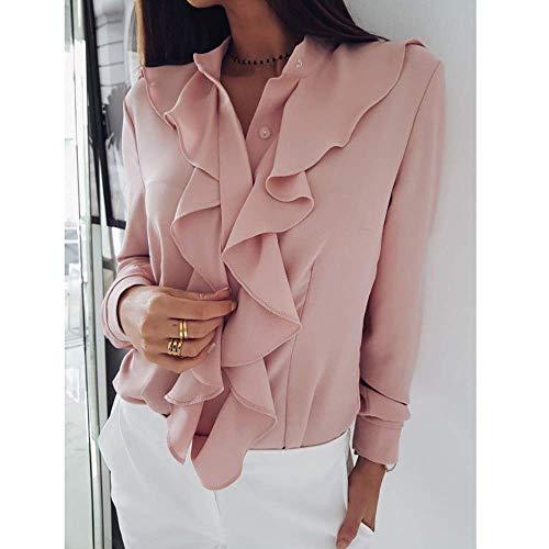 Demana ¡ªWinter Clearance Sale ! Women Blouse Womens Long Sleeve Tops Ruffle Front Shirt Ladies Office Button Shirt