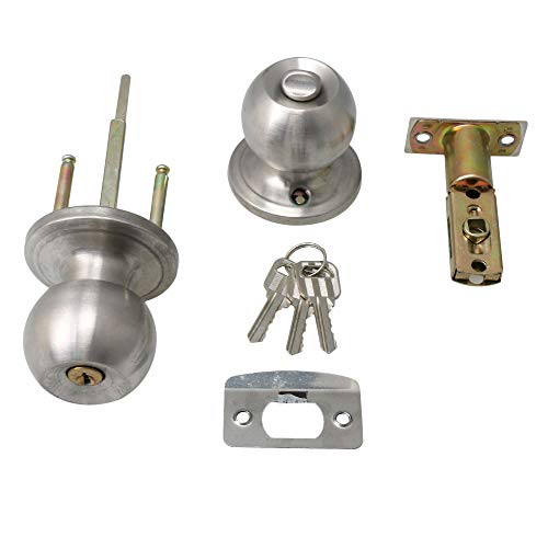 Bqlzr argento in acciaio inox a forma di sfera rotonda maniglia per porta di ingresso manopola di bloccaggio doppio loop tipo con chiavi