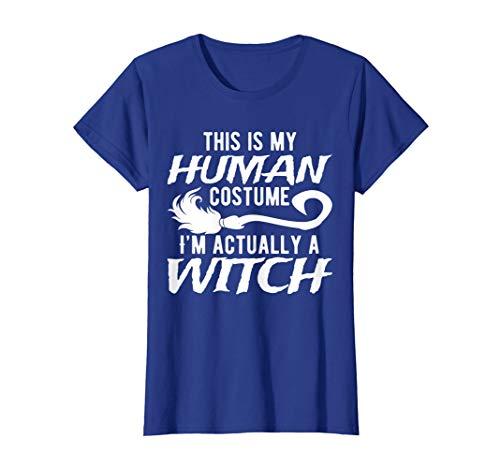 Halloween Lustig Menschliche Hexe Kostüm T-Shirt (Rosa Und Grün Hexe Kostüm)