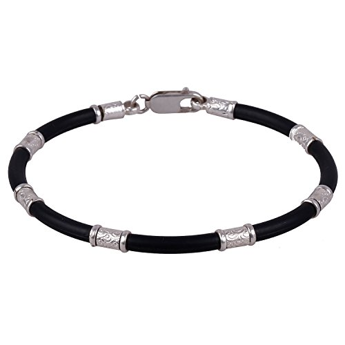 Trendy ARISIDH genuine 92.5 Pure sterling silver black rubber bracelet kada for men, women, boys and girls.
