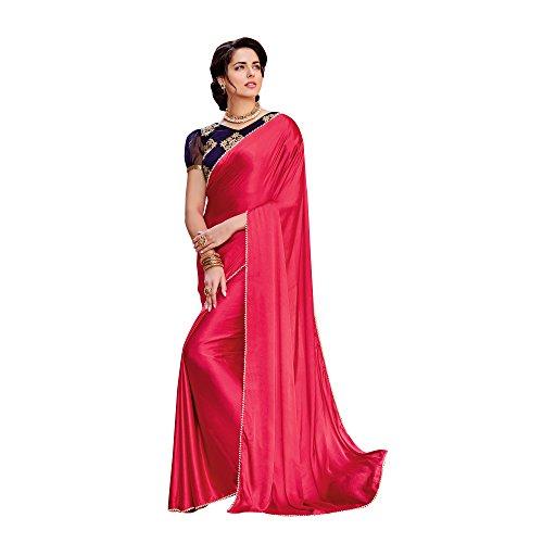 Shaily Retails Women's Satin Saree With Blouse Piece (Saloni1067Sssr01, Peach, Free Size)