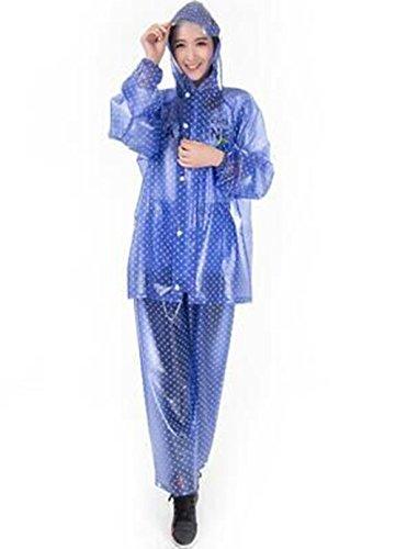 Riding A Raincoat Set Transparent Raincoat Adulte Hommes Split et Imperméable Transparent pluie femmes Pants Set Veste imperméable Alpinisme Imperméables ( couleur : Rose , taille : L ) Bleu