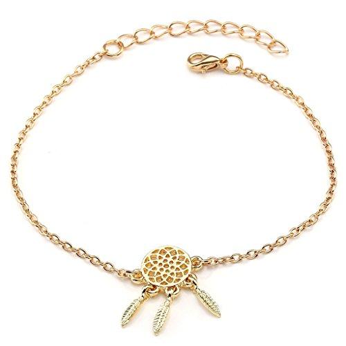JSDDE Vintage Blumen Vogel Armbanduhr Basel-Stil Weiß Quarz Uhr + Traumfänger Anhänger Armband Halskette Geschenk Set - 5