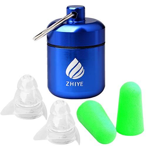 Zhiye Gehörschutzstöpsel mit Geräuschunterdrückung, wiederverwendbar, Silikon, mit Aluminium-Box, Gehörschutz, Ohrstöpsel für Konzert, Arbeiten etc. farblos