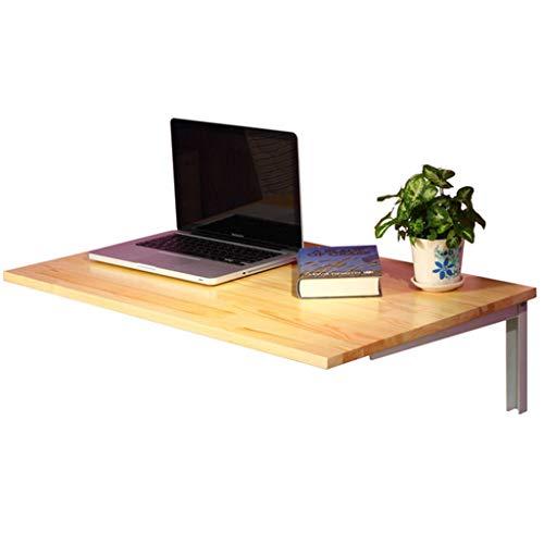 Mensola per Computer a Parete con mensola a Muro con 2 mensole da Cucina Tavolo da Cucina per Ufficio Scrivania per Laptop Pieghevole Scrivania in Legno massello per spazi Piccoli (80x50cm)