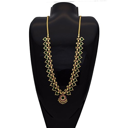 One Gram Gold Plated Traditional Palakka Necklace from Kollam Supreme