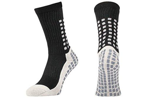 Rutschfeste Fußball-Socken, rutschfeste Sport-Socken, mit Gummi-Noppen, im trusox-/tocksox-Stil, hohe Qualität, für Basketball, Fußball, Wandern, Laufen, erhältlich in weiß, schwarz, rot, blau schwarz schwarz UK 5.5 - 11
